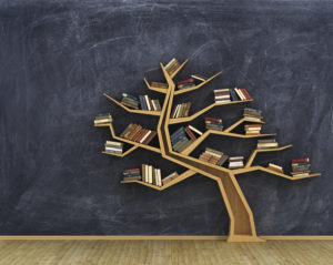 Concept of science. Bookshelf full of books in form of tree on a whiteboard.